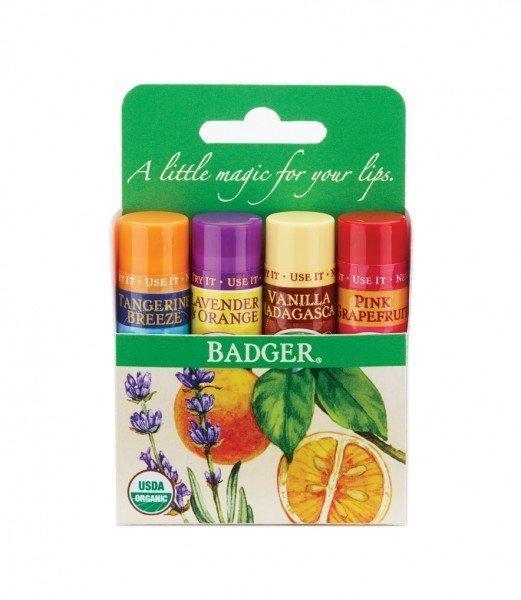 Badger Lip Balm Kit  Tangerine, Vanilla, Grapefruit,  Lavender